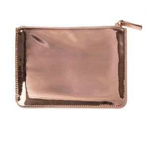 West Emory rose gold mirror metallic clutch wallet